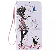 iPhone 7 Plus The bird girl Painted PU Phone Case for iphone5/5S