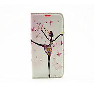 Dancing Girl Diamond Painted Bracket PU Case For Samsung Galaxy S7 / Galaxy S7 edge