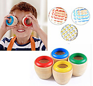 1PC Child Educational Classic Toy Colourful Wooden Magic Kaleidoscope Prism
