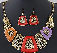 Women European Exotic Fashion Geometric Simplicity Exaggeration Necklace Earrings Set