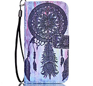 Black Campanula Pattern PU Material Card Lanyard Case for Samsung Galaxy S7/S7Edge