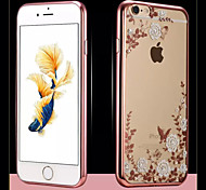 Flower Pattern Rose Gold Side Diamante Design Cover for IPhone 6 Iphone6S (Assorted Color)