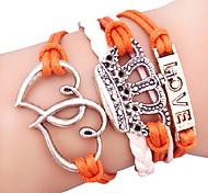 Wickelarmbänder 1 Stück,Silber / Weiß / Orange Armbänder Aleación / Leder Schmuck Damen