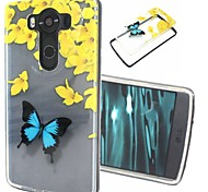 2-in-1 Butterfly Pattern TPU Back Cover with PC Bumper Shockproof Soft Case for LG V10/G4 Pro