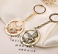 1PCS New Arrival Movie the Hunter Game Hungry Bird Shape Round Metal Keychain Pendant Key Chain