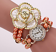 Damen Modeuhr Armband-Uhr Quartz PU Band Glanz Blume Perlen Weiß Orange Braun Gold Weiß Orange Fuchsia Braun Golden