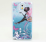 Butterfly Girl Painted Quicksand PC Phone Case For Samsung Galaxy Note3/Note4/Note5 + A Touch Screen Pen
