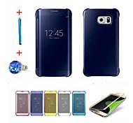 Для С функцией автовывода из режима сна / Покрытие / Зеркальная поверхность / Флип Кейс для Чехол Кейс для Один цвет Твердый PC SamsungS6