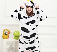 Cute Black Milk Cow Adult Coral Fleece Kigurumi Pajamas Animal Sleepwear