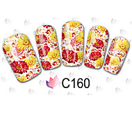 40sheets  Mixed Cartoon Flower Water Transfer Sticker Nail Art Beautiful DIY STZ40 Random