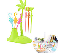 6 Fork Monkey shape Coconut Tree Fruit Fork Snack Dessert Forks Toothpick Holder (Random Color)