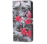 красные цветы цветущие шаблон кожаный бумажник флип стенд случай с гнездом для карты для Microsoft Lumia 650
