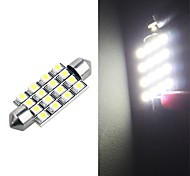 42mm 16 SMD LED White Car Dome Festoon Interior Light Bulb  (2 Pcs)