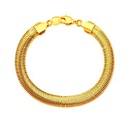 18K Stamp Gold Plated Bracelet Wholesale New Fashion Rock Style 20 CM 8 MM Thick Snake Chain Bracelet Men Jewelry B40184