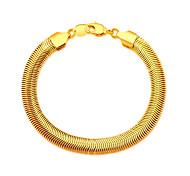18K Stamp Gold Plated Bracelet Wholesale New Fashion Rock Style 20 CM 8 MM Thick Snake Chain Bracelet Men Jewelry B40184