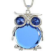 New Owl Pendant Necklaces Long Silver Chian with Big Crystal and Rhinestone Lovely Animal Necklace