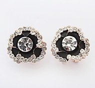 Womwn's New European Style Exquisite Fashion Shiny Rhinestone Rose Cute Stud Earrings