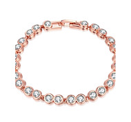 Fashion Women's Rhinestone Imitated Rose Gold Plated Tin Alloy Chain & Link Bracelet(Rose Gold)(1Pc)