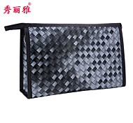 Makeup Storage Cosmetic Bag / Makeup Storage PU Lattice Quadrate 23x7x15 Black / Blue / Red / Purple / Coffee / Rose / Violet
