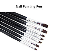 7PCS/set  Nail Art  Acrylic UV Gel Salon Pen Flat Brush Kit Dotting Tool For Decorations