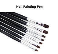 7pcs / set Nagelkunst-Acryl-Gel Salon Stift flachen Pinsel-Set für Dekorationen Punktierung Werkzeug
