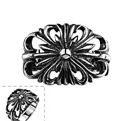 Generous Individual No Decorative Stone Men's Big Flower Stainless Steel  Ring(Black)(1Pc)