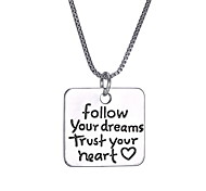Follow Your Dreams And New Square Pendant Necklace