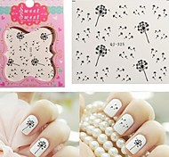 1PCS Water Transfer Printing  Black Dandelion Nail Stickers