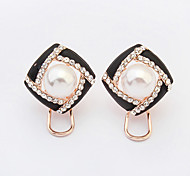 Women's New European Style Fashion Elegant Shiny Rhinestone Imitation Pearl Fresh Flowers Stud Earrings