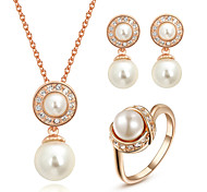 T&C Women's Bridal Cz Crystal Jewelry White Imitation Pearl Waterdrop Necklace and Earrings and Ring Set
