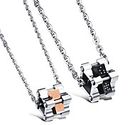 Rubik's Cube Love Titanium Steel Couple Necklace