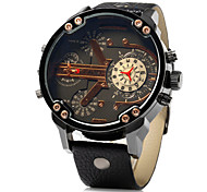 Men's Military Dual Time Display Leather Band Quartz Wristwatch Cool Watch Unique Watch