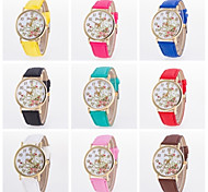 Beautiful Women Flower Printing Watch Pu Leather Band Genveva Floral Watch Cool Watches Unique Watches