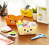 1PC Cute Cartoon Bear Plastic Square Easily Desktop Receive Box Sundry Basket(Style random)