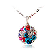 HKTC Valentine's Glittering Colourful Crystal Round Pendant Necklace Platinum Plated Fashion CZ Diamond Jewelry