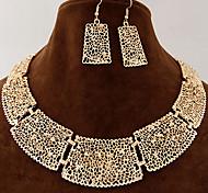 Women's European Style Fashion Hollow Pattern Metal Choker Necklace Earring Sets