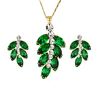 Jewelry Necklaces / Earrings Necklace/Earrings Party / Daily / Casual Alloy / Zircon 1set Women Dark Green Wedding Gifts