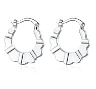 lureme®Fashion Style Silver Plated Irregular Shaped Hoop Earrings