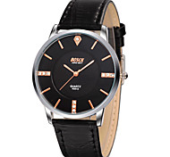 Men's Japanese Quartz Black Leather Band Water Resistant Dress Watch Jewelry
