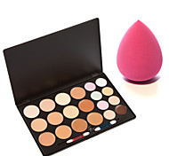 UK 20 Colors Contour Professional Face Concealer Cream Palette+2in1 Dry&Wet Water Drop Microfiber Sponge Powder Puff