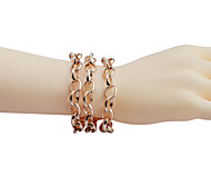 Simple Style Three Rows Of Chain Alloy Bracelet