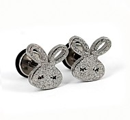 Cute Long-Eared Rabbit Matte Stainless Steel Screwback Earrings