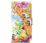 For iPhone 5 Case with Stand Case Full Body Case Cartoon Hard PU Leather iPhone SE/5s/5