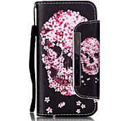 EFORCASE® Petals Skull Painted Lanyard PU Phone Case for iphoneSE/5S/5