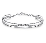 Lureme Simple Style Silver Plated Jewelry Geometry Pave Zircon Bangle for Women