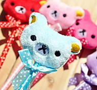 1PC Cute plush bowknot cartoon animal expressions The bear plush ball pen(Style random)