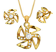 Vintage 18k Gold Plated Windmill Necklace&Earrings Special Jewelry Set for Women Gift Wholesale S20161