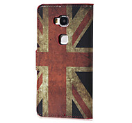 For Huawei Case with Stand / Flip / Pattern Case Full Body Case Flag Hard PU Leather Huawei