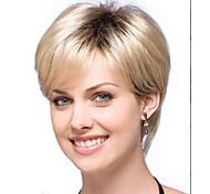 Ombre hair Wig Women Nice short Natural Straight wig Blonde with Dark Roots synthetic hair wigs Free Shipping