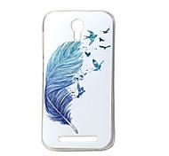 plume bleue nouvelle tpu douce couverture de cas pour Doogee valencia 2 Y100 téléphone portable sacs cas